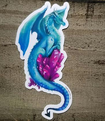 """Aqua Dragon With Magenta Crystal 5"""" Sticker"""