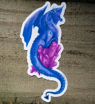 """Blue Dragon With Pink Crystal 5"""" Sticker"""