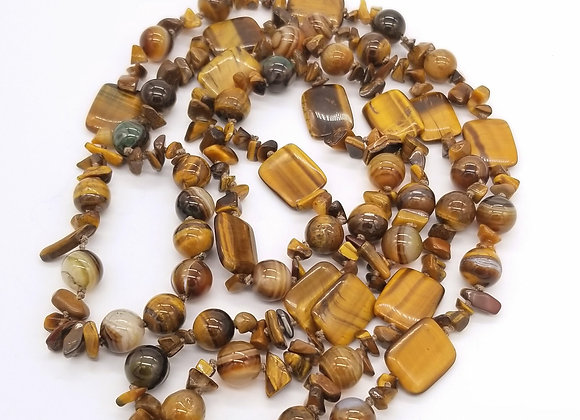 Tiger Eye Long Rope Layering Necklace