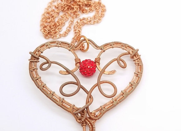 Antiqued Copper Heart Key