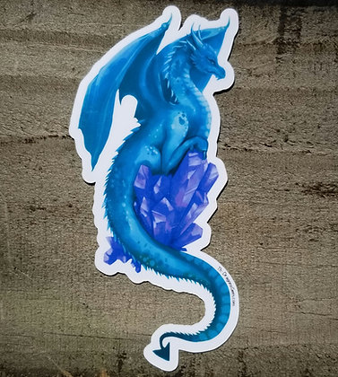 "Blue Dragon With Blue Crystal 5"" Sticker"