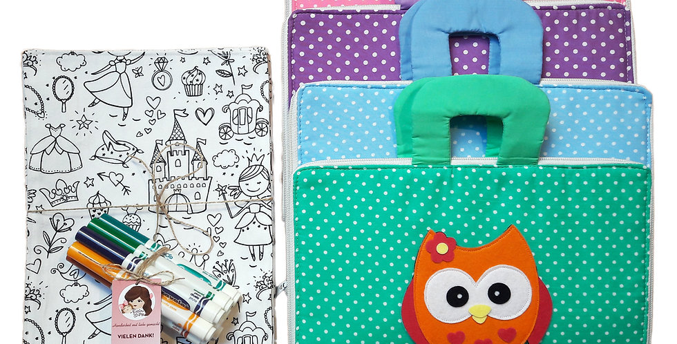 Busy Bag with Washable Coloring Sheets