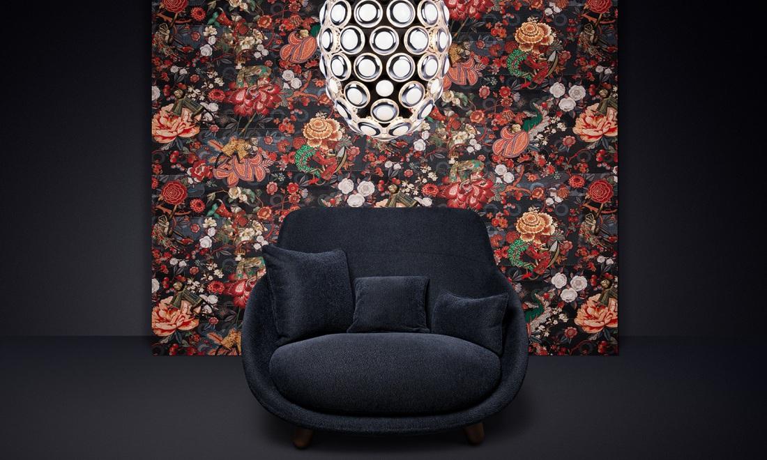 Tapet cu flori textil