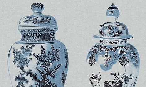 Tapet Flamant Memoires Cluj, tapet cu desene ceramica, tapet cu farfurii, tapet de lux, magazin tapet cluj,design stil baroc.jpg
