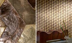 tapet geometric auriu
