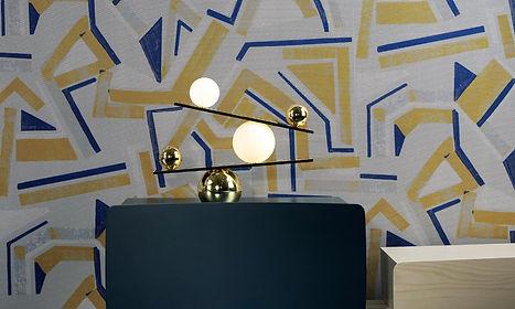tapet vanguard cluj, tapet in stil modern, tapet cu desene abstracte,tapet design stil modern, amenajare stil modern,tapet cu galben si albastru.jpg