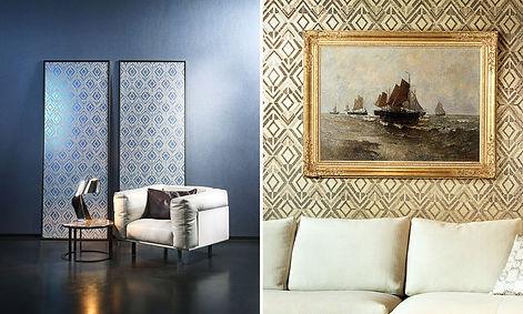 tapet revera,tapet cu model geometric, tapet albastru cu argintiu,tapet cu romburi din liniute,tapet in stil modern,design in stil modern,amenajare stil modern cu tapet, accent decor cluj.jpg