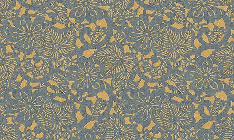 tapet flamant memoires cluj, magazin tapet cluj, design interior cu tapet, tapet cu flori mici, tapet cu flori albastre pe fundal galben,tapet stil romantic,tapet de lux cluj.jpg