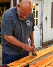 dad staining wood .JPG