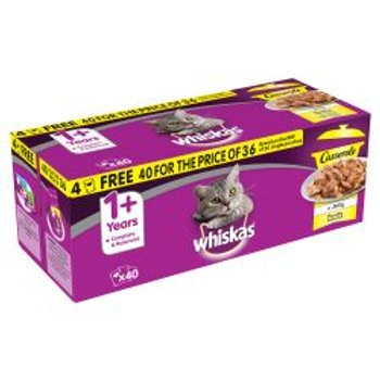 WHISKAS 1+ Cat Pouches Casserole Poultry Selection in Jelly 40/36,