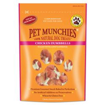 Pet Munchies 100% Natural Real Chicken & Rawhide Dumbbells, 80g