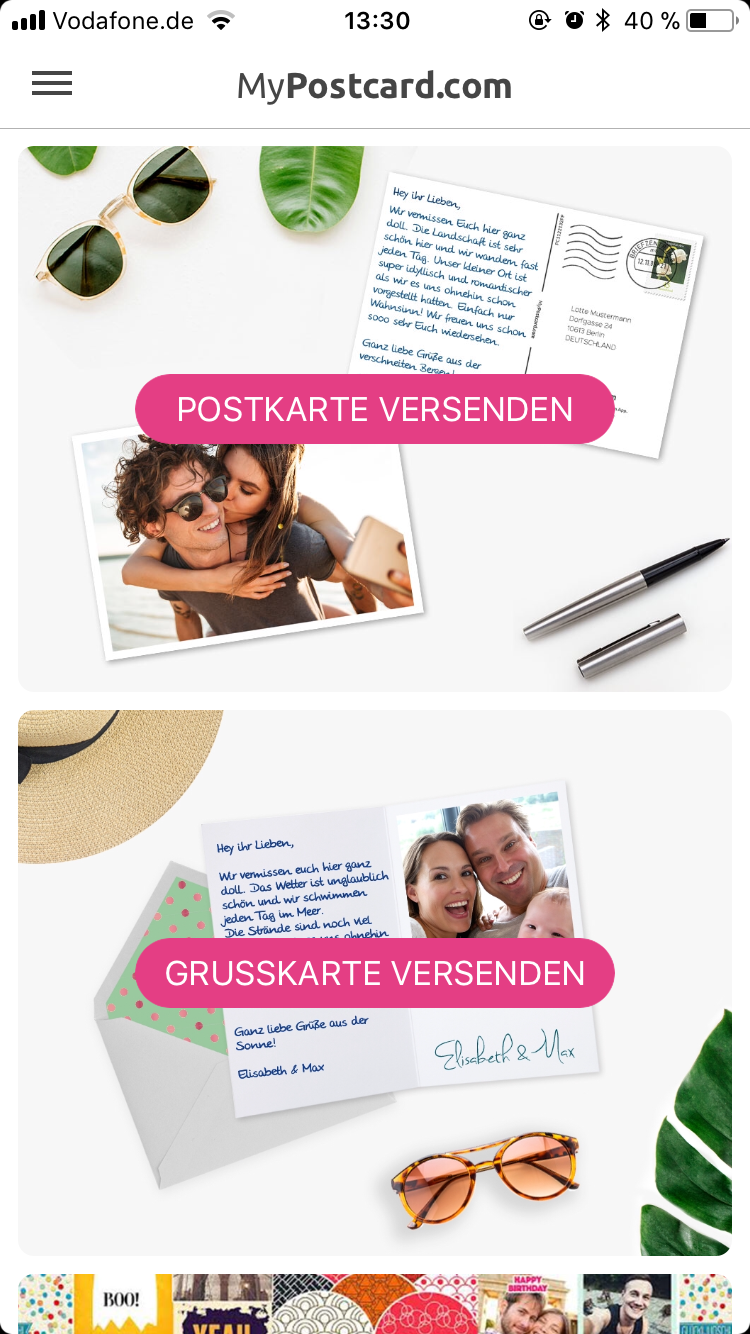 Screenshot der MyPostcardApp