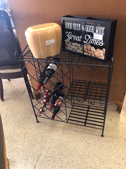 Metal wine table me/rack & glass holder