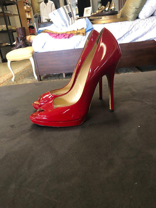 Jimmy Choo red patent leather heels in size 8.5