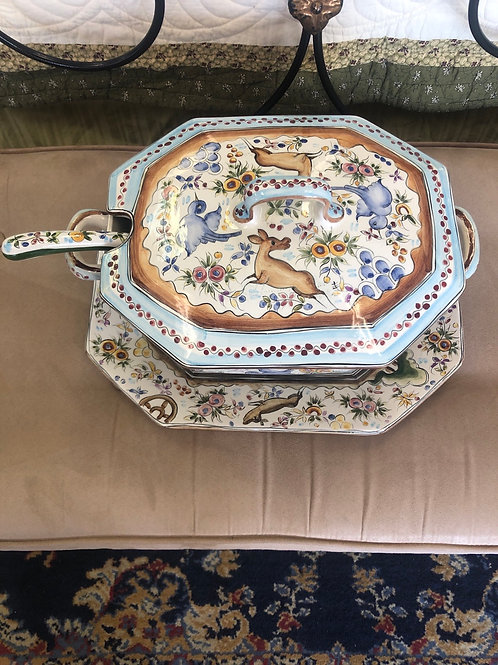 Soup tureen with ladle & matching tray