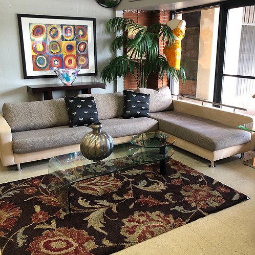 Italian made leather & fabric sectional