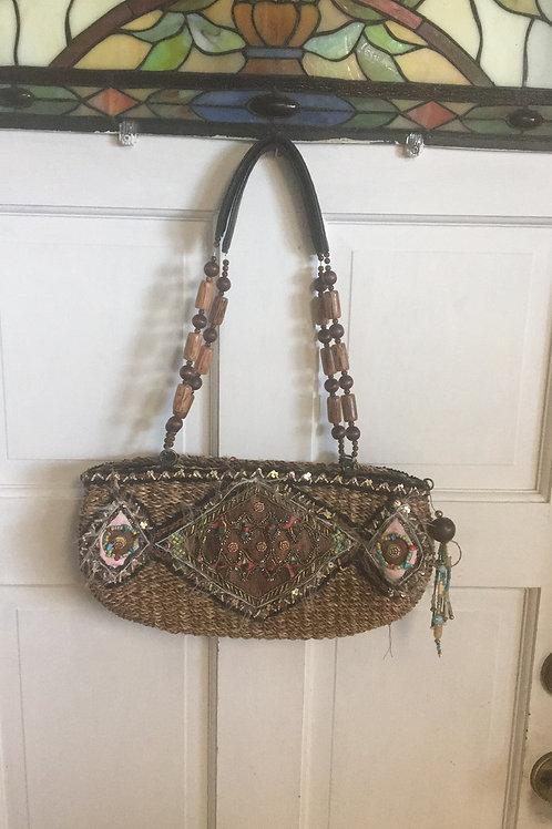 Mary Francis straw handbag