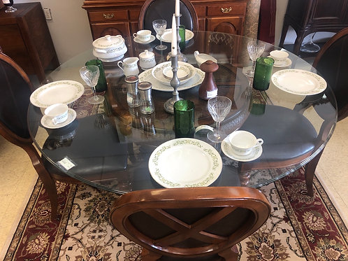 Wood & glass table with 4 chairs