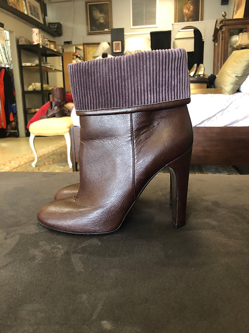 Stella McCartney ankle booties in soft leather with  cord  trim at top.