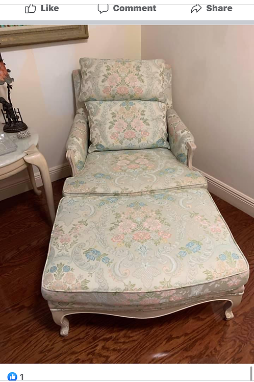 .French Bergere chair & ottoman