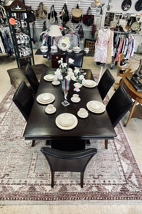 Wood Table w/ 8 Chairs