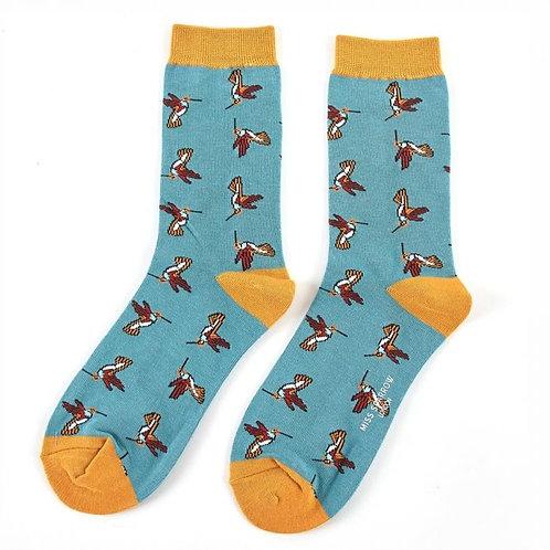 Miss Sparrow Socken Bamboo Kolibri blau
