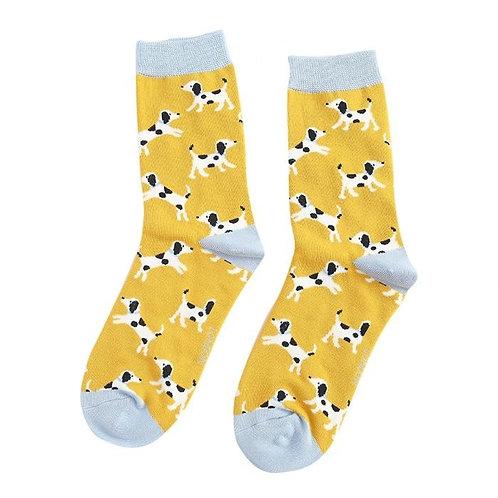 Miss Sparrow Socken Bamboo Dalmatians gelb