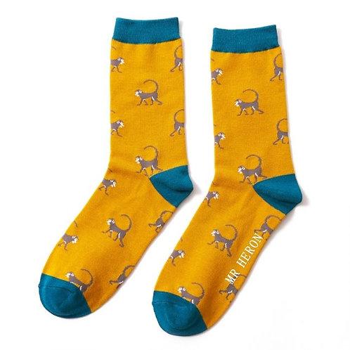 Miss Sparrow Bamboo Männer-Socken Monkey gelb