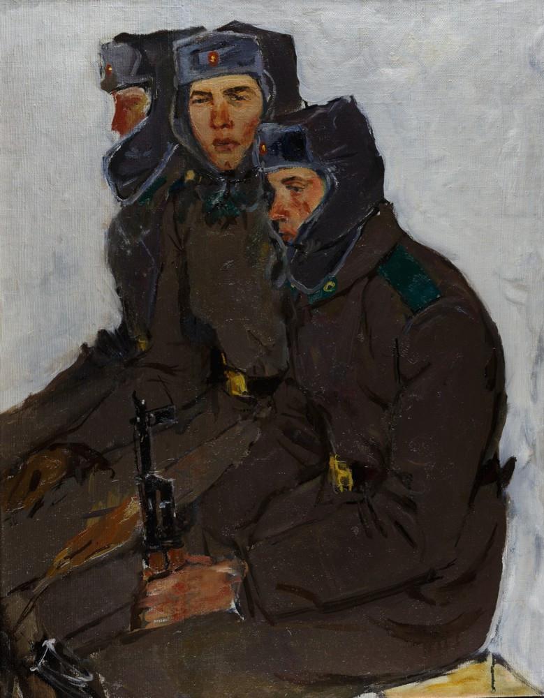 Пограничный наряд. г. Нарьян-мар. 1972 год Автор Анатолий Маркович Знак(1939-2002) Холст, масло. Размер 78х61см.