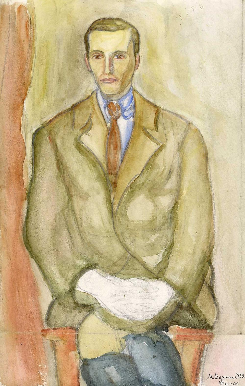 М. Берингов.  Томск. 1920 год. Автор Вериго Магдалина Брониславовна (1891– 1994). Бумага акварель. Размер 36х22.5 см.