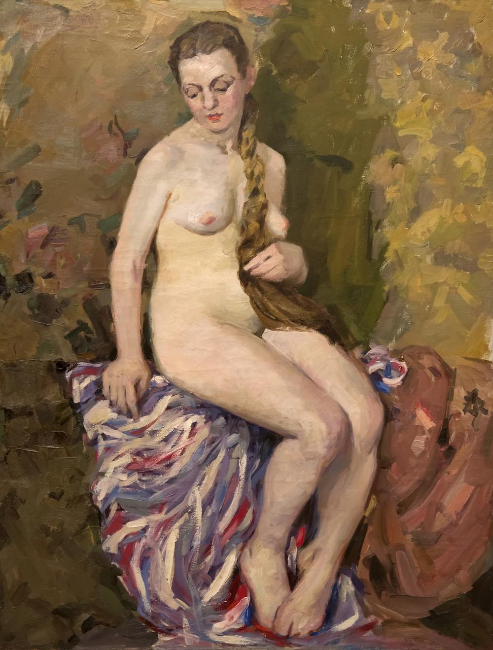 Обнаженная с цветным пледом.  1959-60 год. Автор Кузьмин Ардалион Валентинович (1930-1999) Холст, масло.