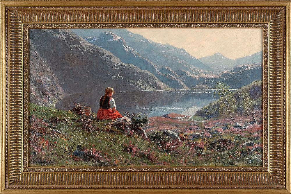 У Фьорда. Автор Ганс Даль (Hans Dahl, 1849 - 1937)