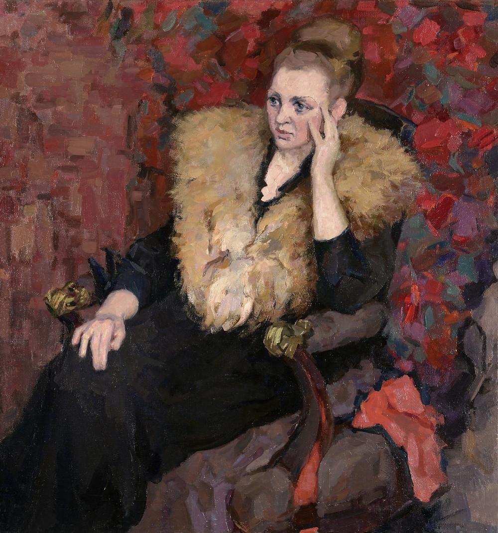 Сидящая в кресле.  1959-60 год. Автор Кузьмин Ардалион Валентинович (1930-1999) Холст, масло.