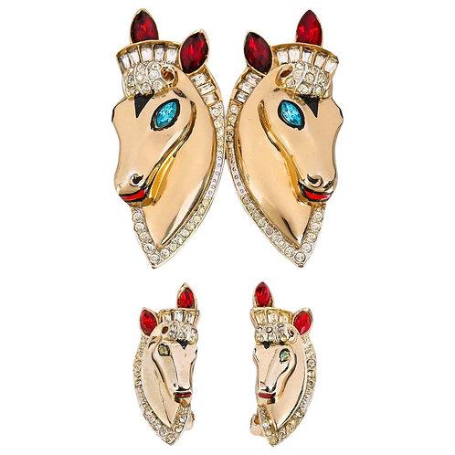 Corocraft Brooch Earrings Parue Set