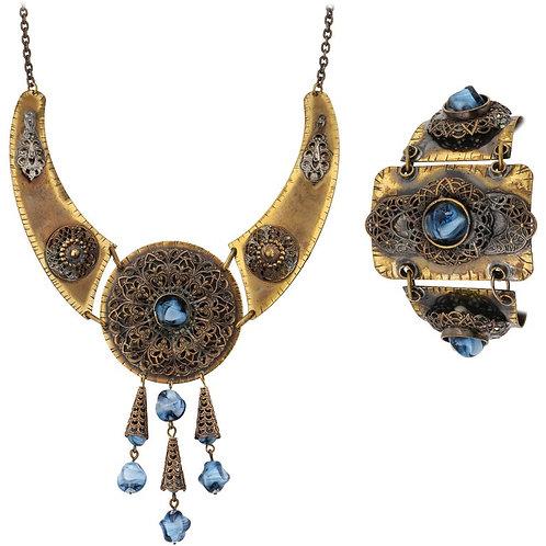 1930's Brass & Czech Glass Necklace Bracelet Set