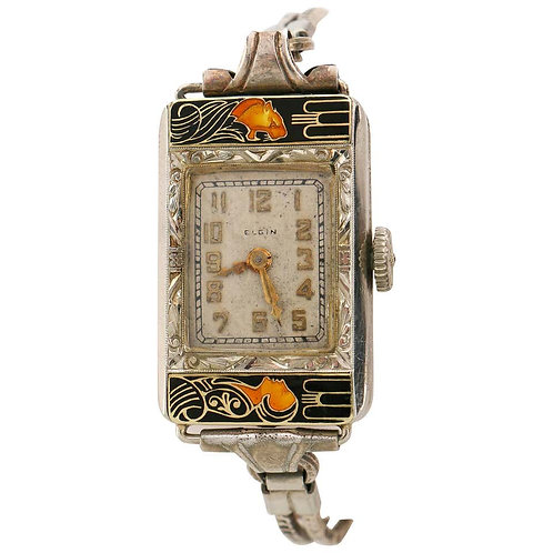 "Elgin c.1925 ""Lady & Tiger"" Art Deco Watch"