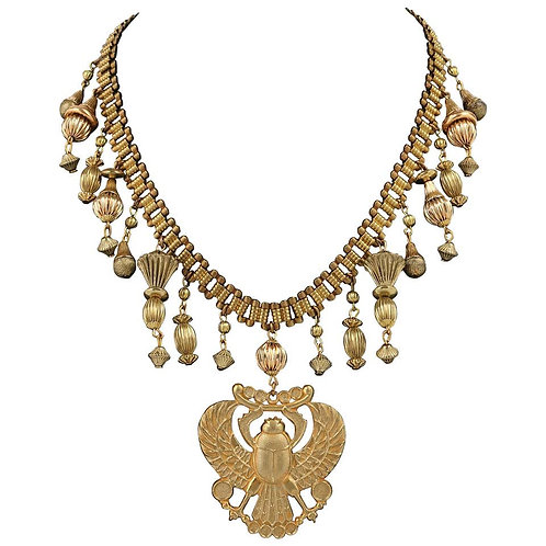 Miriam Haskell Egyptian Scarab Necklace