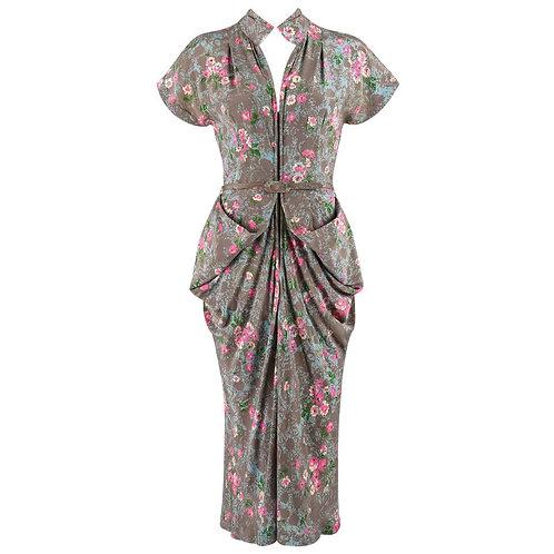 Couture c.1940's Bustle Draped Dress