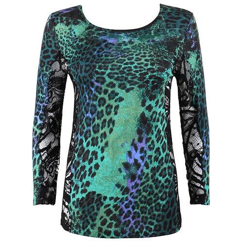 Emilio Pucci Leopard Print Knit & Lace Top