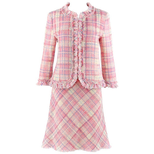 Moschino Plaid Jacket Skirt Suit