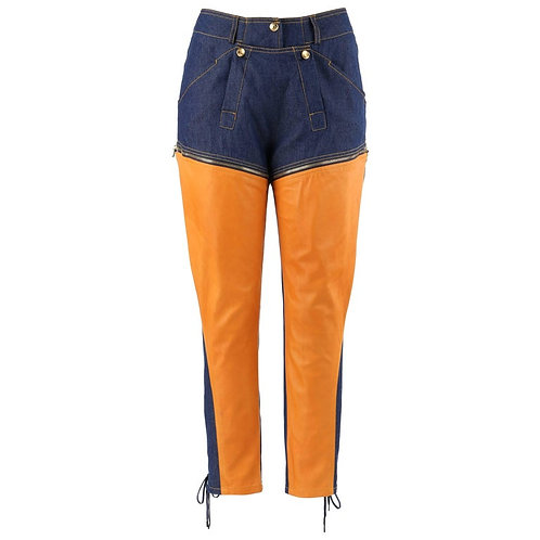 Christian Dior Denim & Leather Convertible Jeans / Shorts