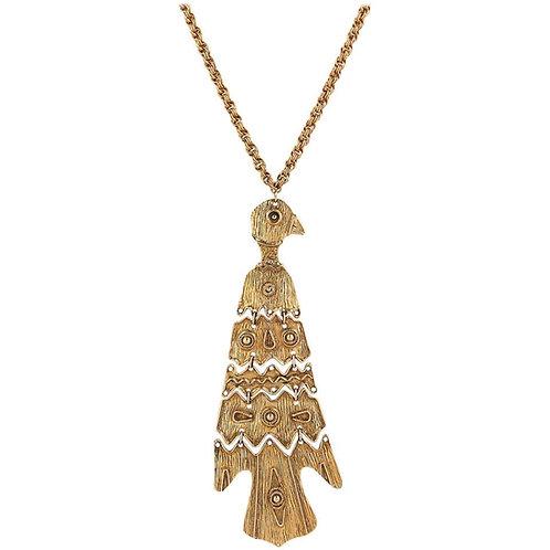 c.1970's Totem Bird Pendant Necklace