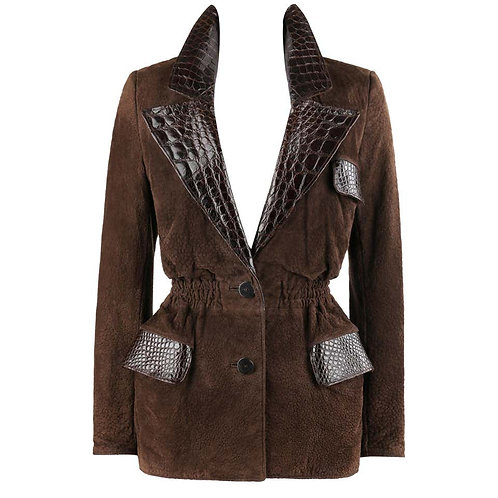 Valentino Couture Croc Embossed Suede Jacket