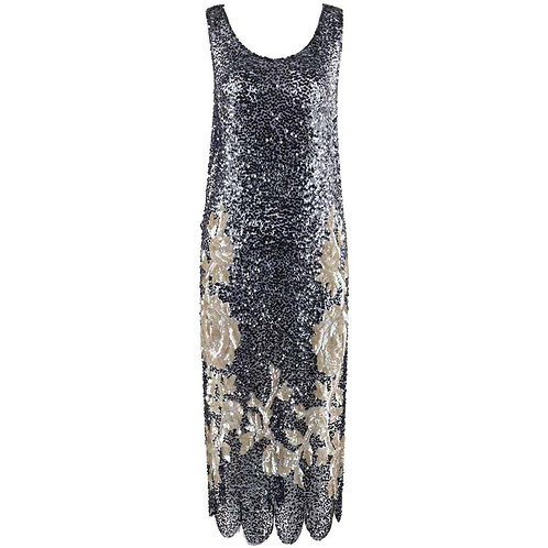 Couture c.1920's Sequin Flapper Tabard Dress