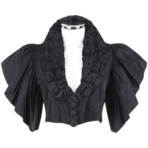 Jean Patou Silk Ruffled Capelet Jacket