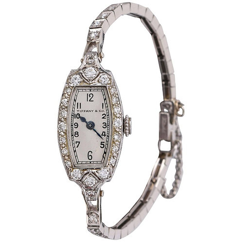 Tiffany & Co 1930's Diamond Platinum Bracelet Watch