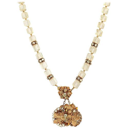 Miriam Haskell Leaf Pendant Necklace