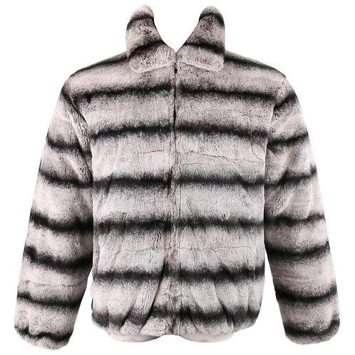 Chinchilla Fur Zip Front Coat