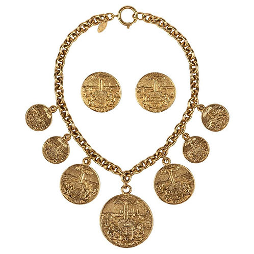 Chanel Medallion Necklace & Earrings Set
