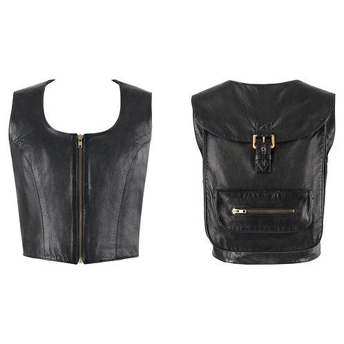 VAKKO Black Leather 2-in-1 Vest Backpack